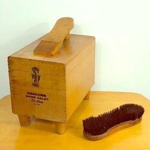 Vintage❤️ Esquire Oak Wood Shoe Vallet Box